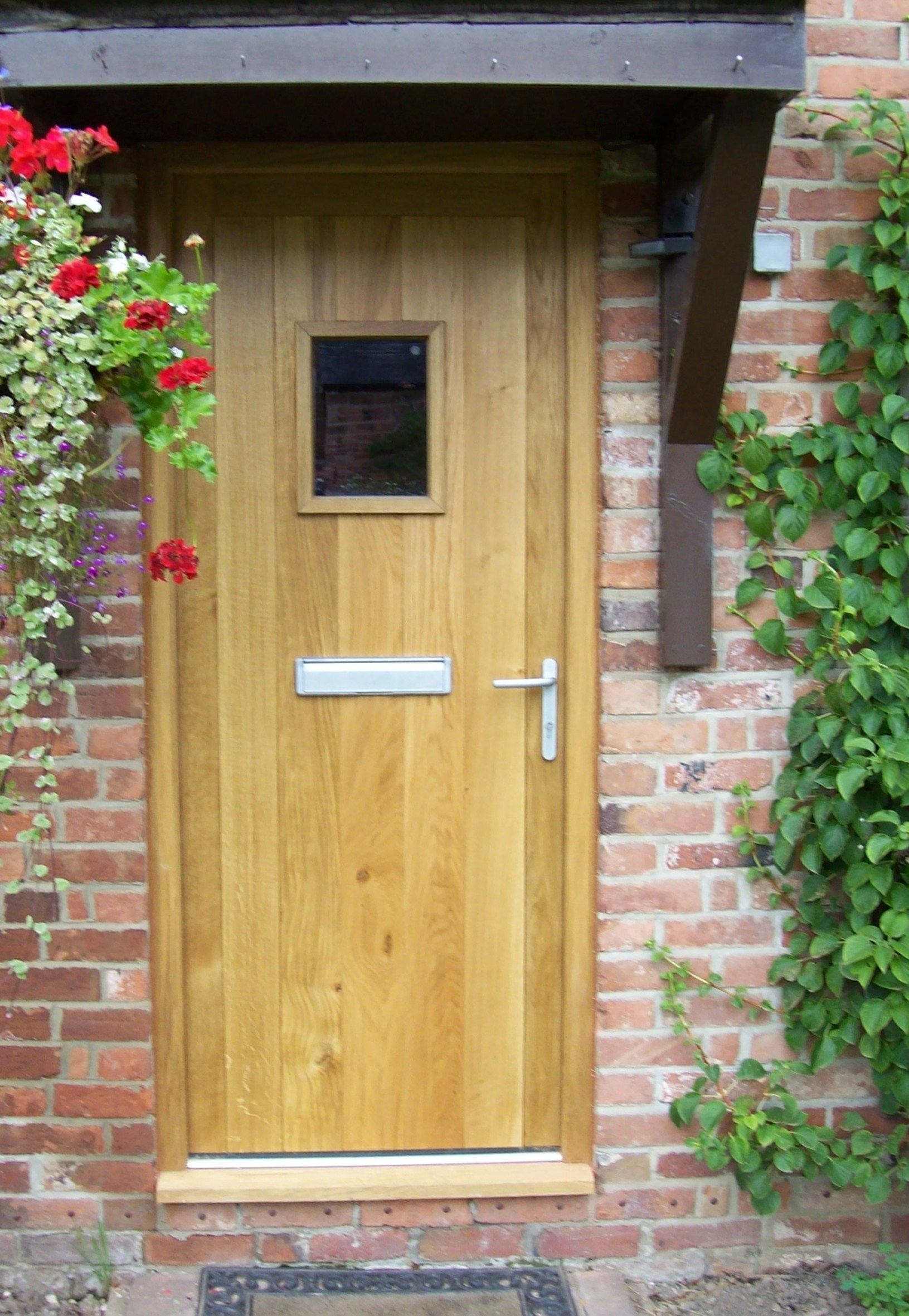 oak front door bull construction