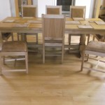 Oak table and chairs, with leather seat-back 2