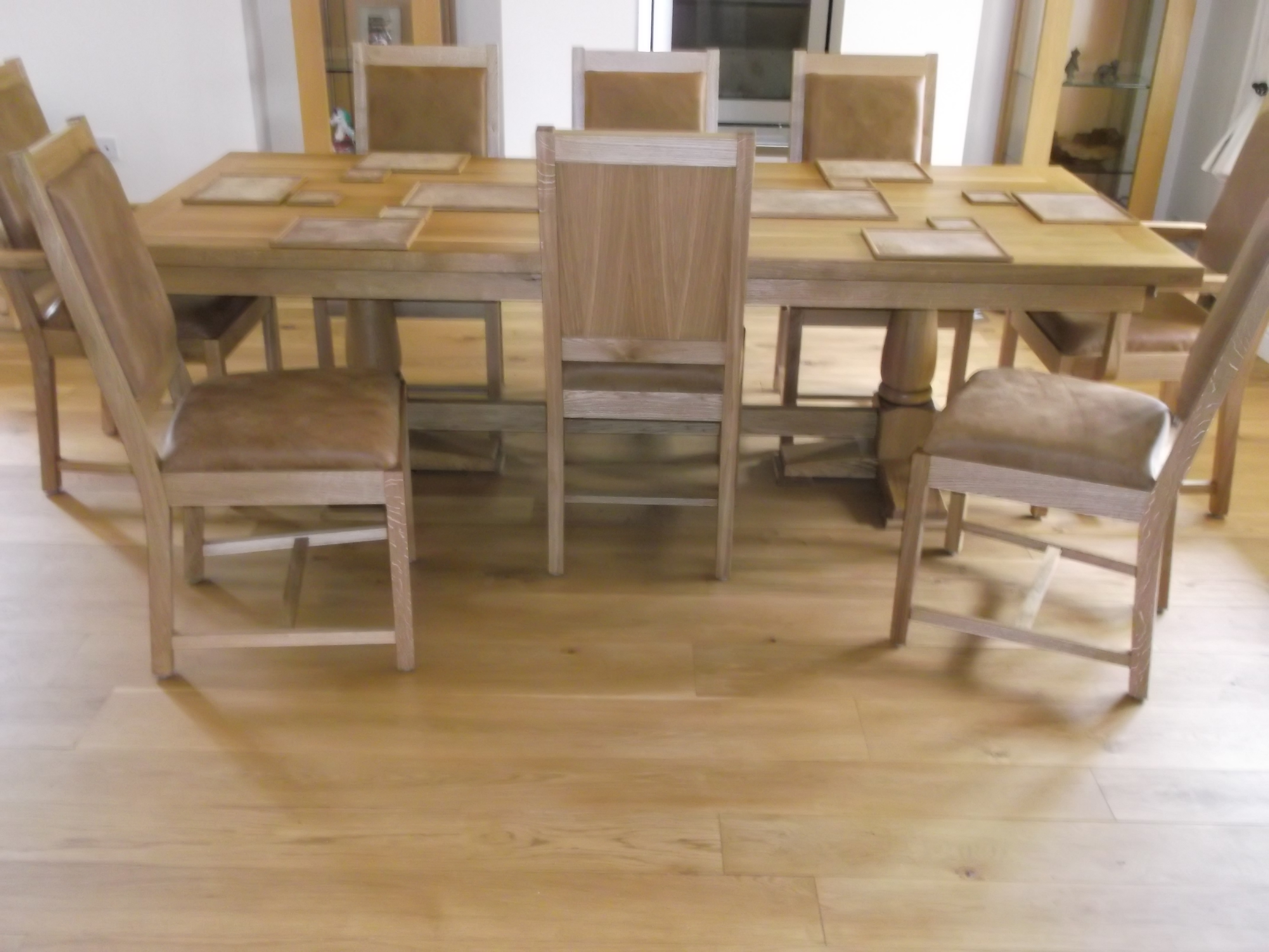 Oak Table And Chairs With Leather Seat Back 2. Full resolution  image, nominally Width 4288 Height 3216 pixels, image with #8C6C3F.